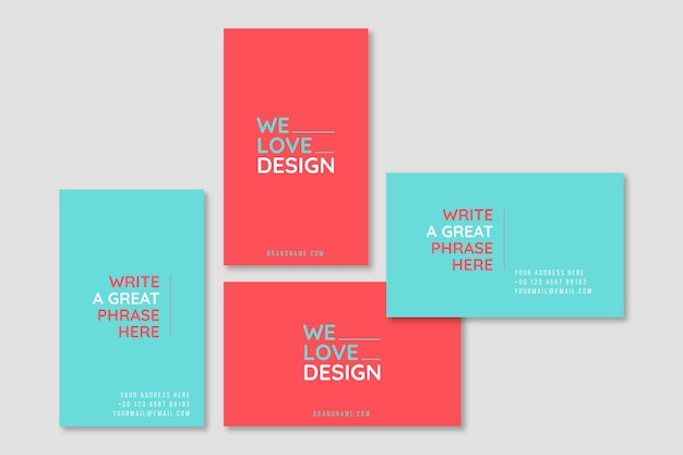 We love design minimal business card template Free Vector