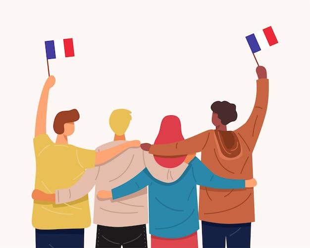 우리는 프랑스를 사랑합니다. 함께 포옹하고 프랑스 국기를 들고있는 사람들의 뒷모습, 프리미엄 벡터