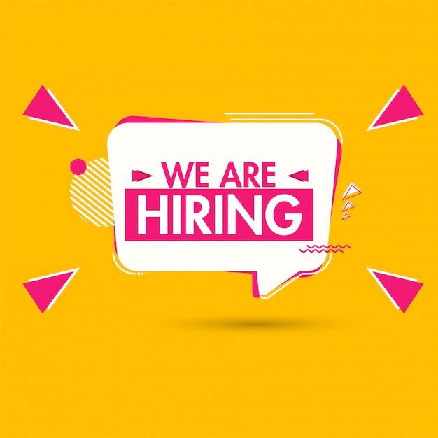 We're hiring, advertising poster or template Premium Vector