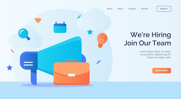 We're hiring join our team megaphone suitcase icon campaign for web website home page landing template with cartoon style. Premium Vector