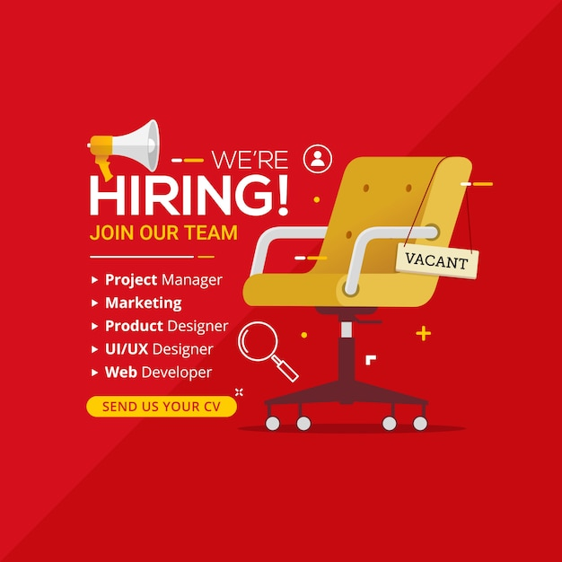 We're hiring with office chair and a sign vacant Premium Vector