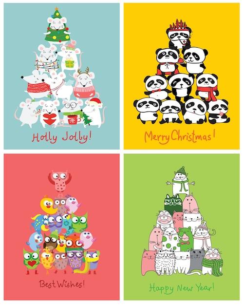 우리는 당신에게 메리 크리스마스와 새해 복 많이 받으세요. 귀여운 쥐, 새, 고양이 및 자동차와 함께 귀여운 크리스마스 카드 I 프리미엄 벡터