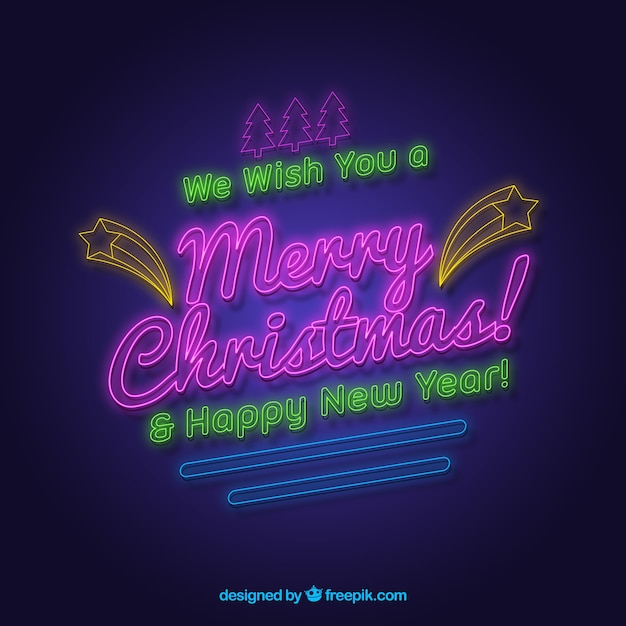 We wish you a merry christmas and a happy new year written in neon