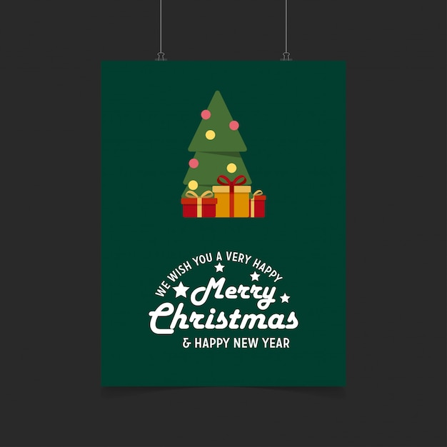 we wish you a very happy merry christmas and happy new year gift box background free