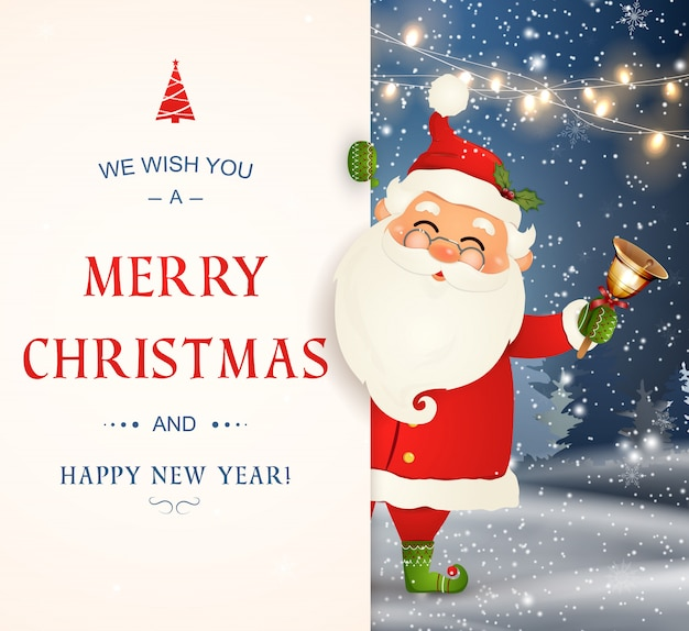 We wish you a merry christmas. happy new year. santa claus character with big signboard. merry santa clause with jingle bell. holiday greeting card with christmas snow. isolated illustration. Premium Vector