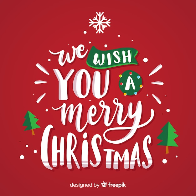 We Wish Ua Merry Christmas.We Wish You A Merry Christmas Lettering Vector Free Download