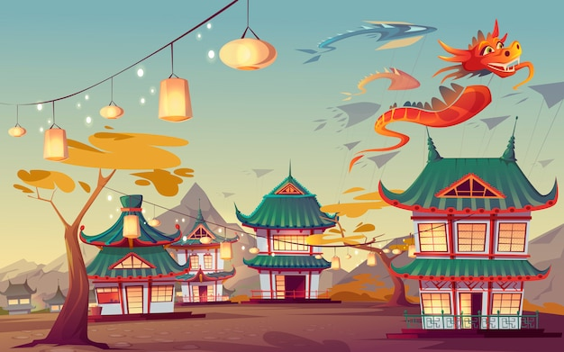中国のwe坊凧祭りのイラスト 無料ベクター