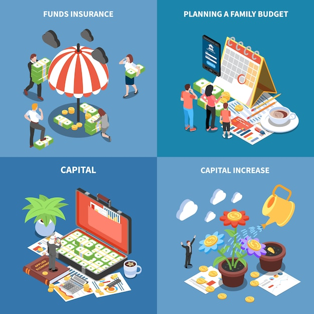 Wealth management isometric concept with money resources funds insurance planning budget capital increase isolated Free Vector