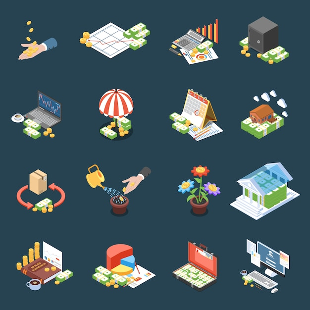 Wealth management isometric icons with financial statistics and operations net profit on dark  isolated Free Vector