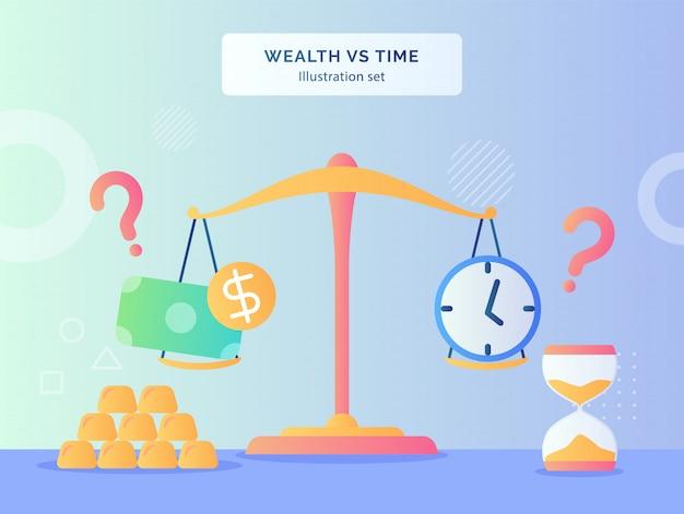 富対時間のイラストは、フラットスタイルの金の砂時計のスケールでお金のドルの時計を設定します。 Premiumベクター