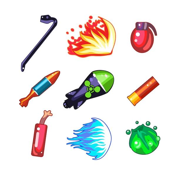 Набор иконок оружия и бомбы Premium векторы