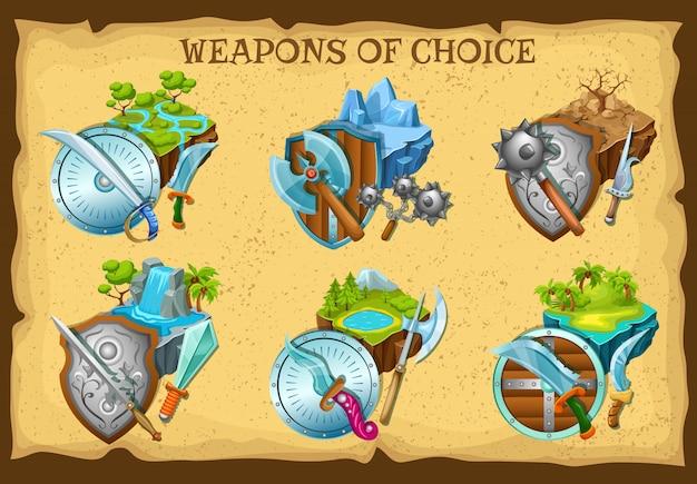 武器とゲームの風景イラストセット 無料ベクター
