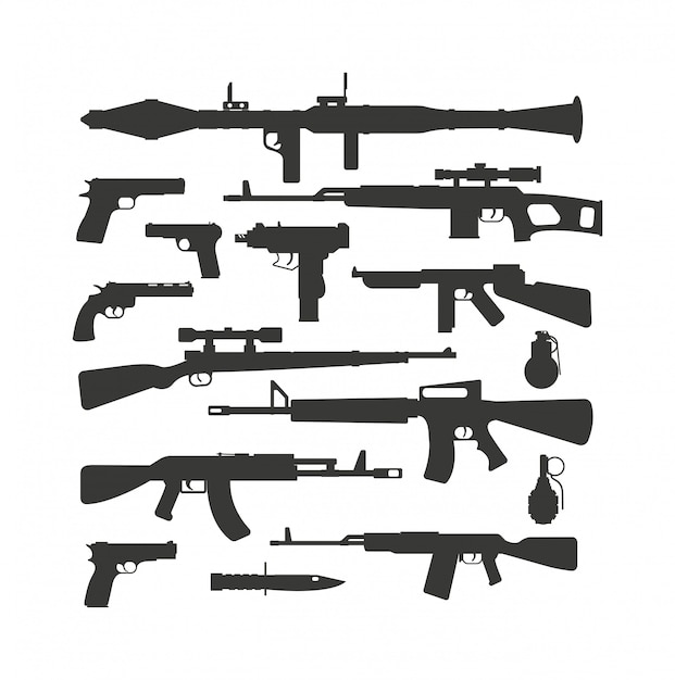 Weapon collection vector. Premium Vector