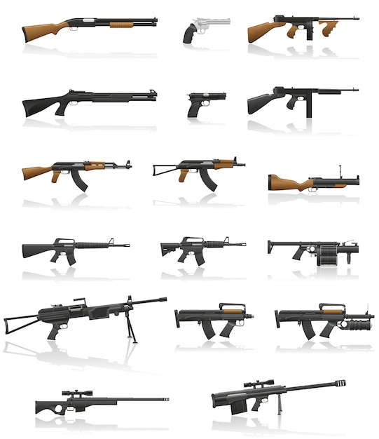 Weapon and gun set collection vector illustration Premium Vector