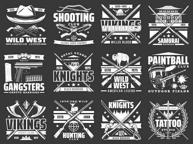 狩猟用ライフル、銃とナイフ、中世の騎士の剣、クロスボウ、矢、槍が付いた武器の紋章のアイコン。バイキングの斧、武士の刀、ワイルドウエストのカウボーイリボルバー、ショットガンのエンブレム Premiumベクター