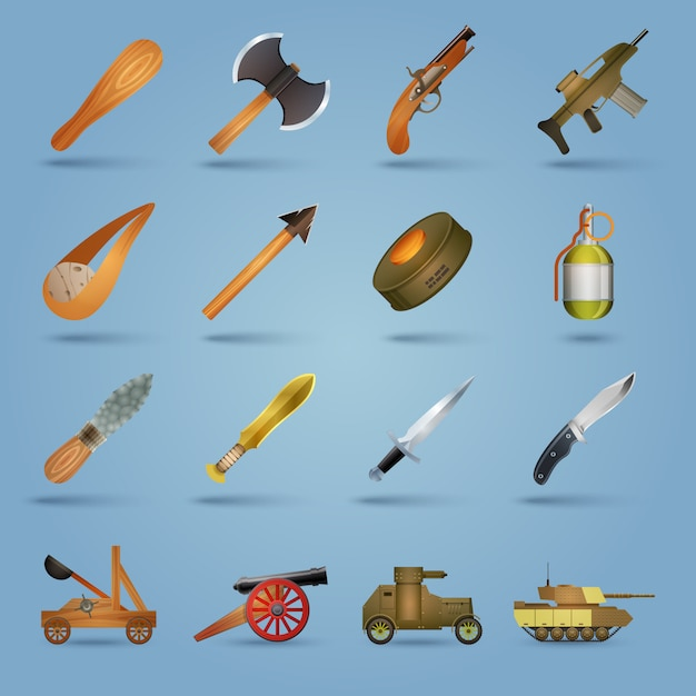 Weapon icons set Free Vector