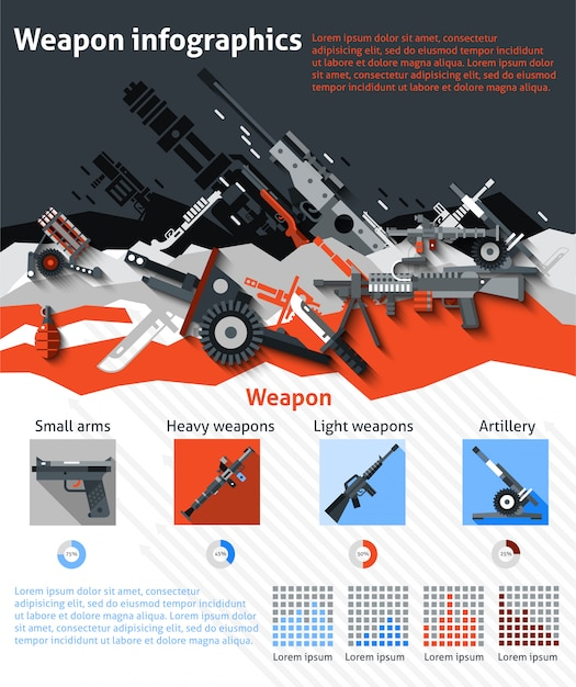 Weapon infographics set Free Vector