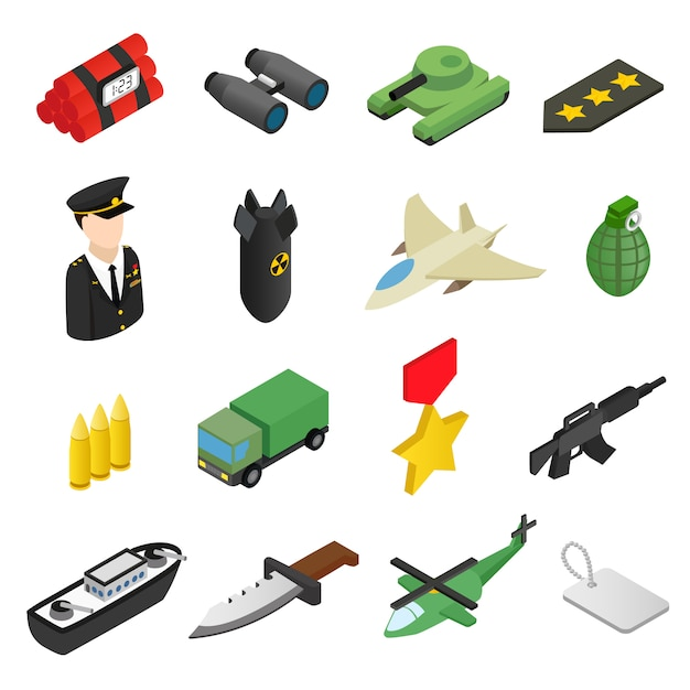 Weapon isometric 3d icons set Premium Vector
