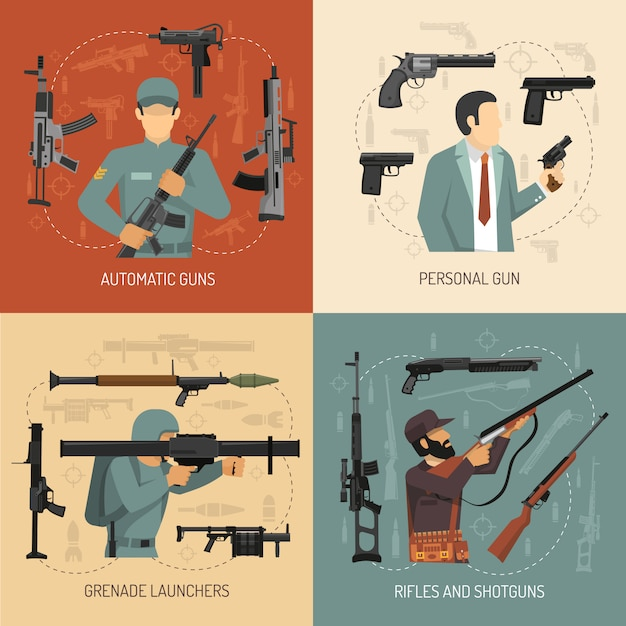 Weapons guns 2x2 design concept Free Vector