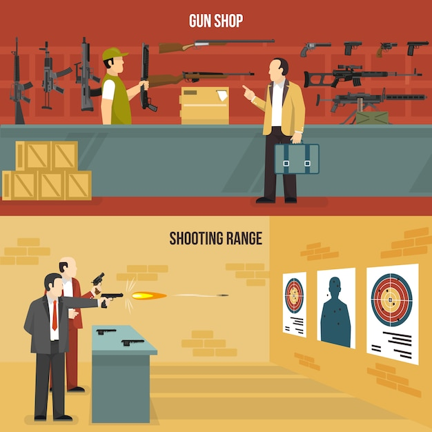Weapons guns banners Free Vector