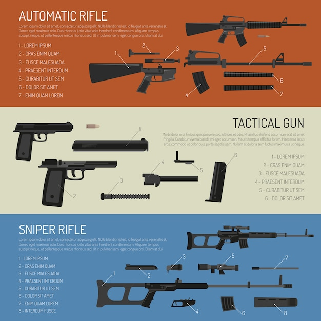 Weapons and guns horizontal banners Free Vector
