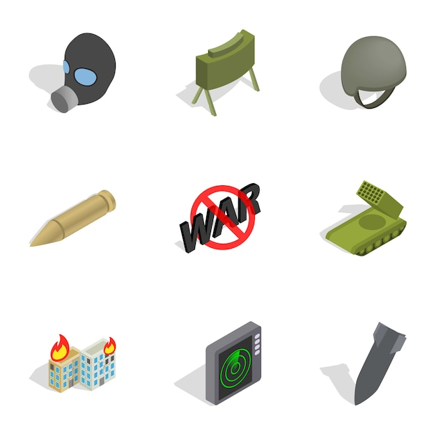 Weapons icons set, isometric 3d style Premium Vector