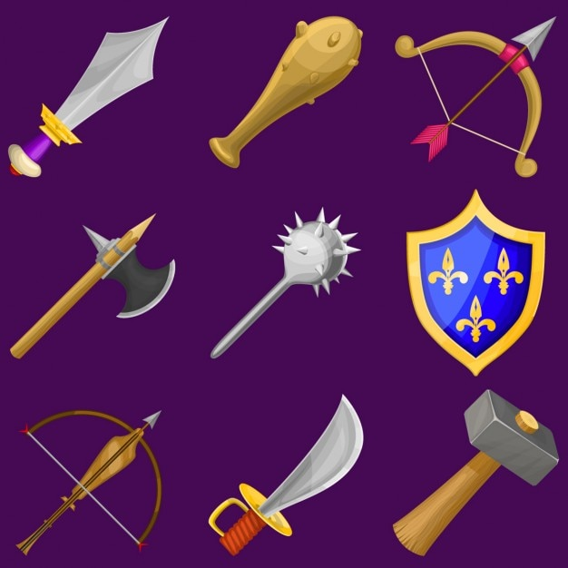 Weapons on a purple background Free Vector