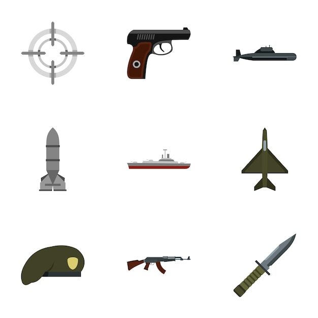 Weapons set, flat style Premium Vector