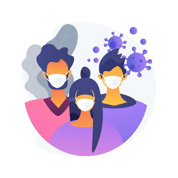 Носите маску абстрактной концепции векторные иллюстрации. меры предотвращения распространения вируса, социальная дистанция, риск заражения, симптомы коронавируса, личная защита, абстрактная метафора страха инфекции. Бесплатные векторы