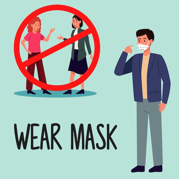 마스크를 사용하지 않는 사람들과 함께하는 마스크 코로나 19 예방 캠페인 프리미엄 벡터