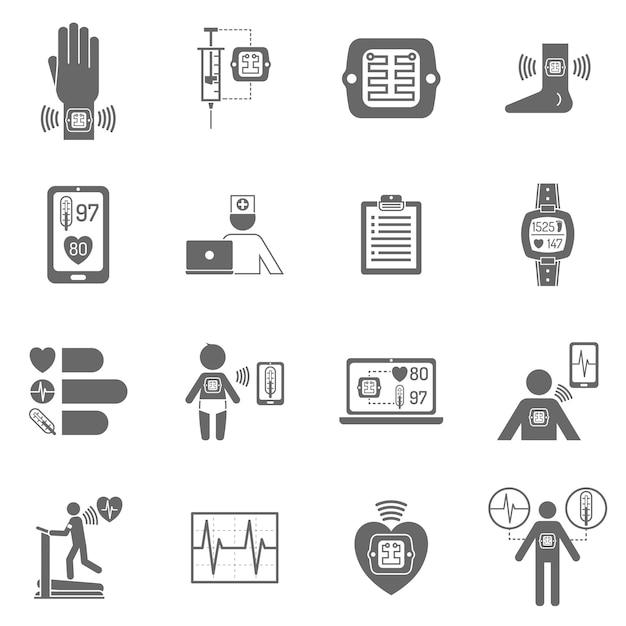 Носимые умные электронные патчи плоские иконки Premium векторы