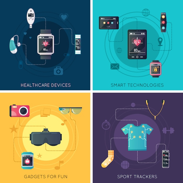 Wearable tech gadgets flat icons square with augmented reality glasses and fitness tracker Free Vector