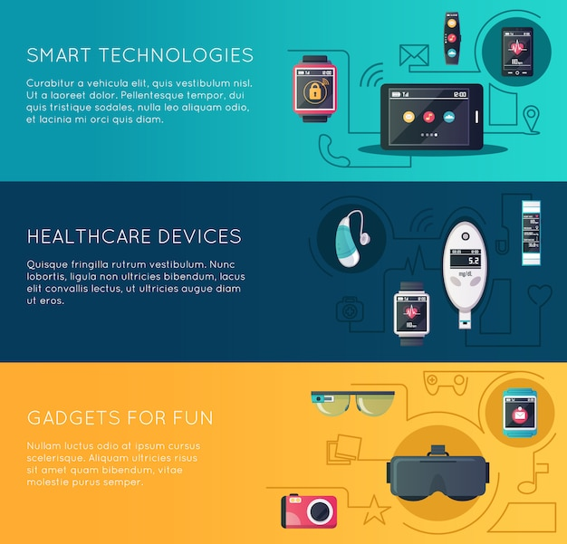 Wearable technology gadgets banners set with augmented reality glasses and fitness Free Vector