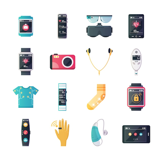 Wearable technology gadgets flat icons collection Free Vector