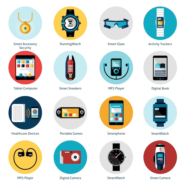 Wearable technology icons Free Vector