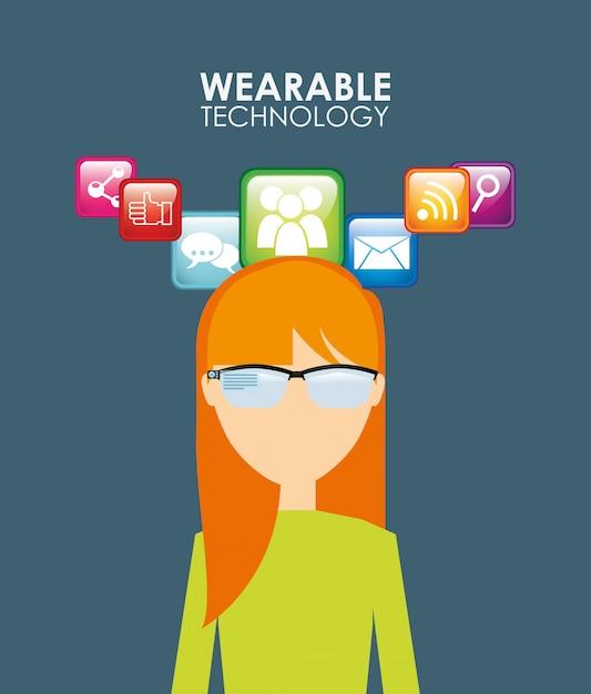 Wearable technology illustration Free Vector