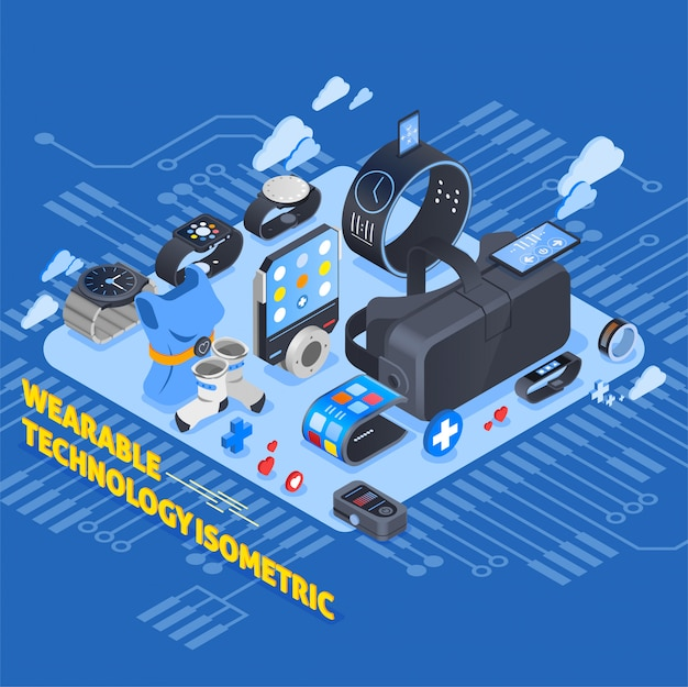 Wearable technology isometric design Free Vector