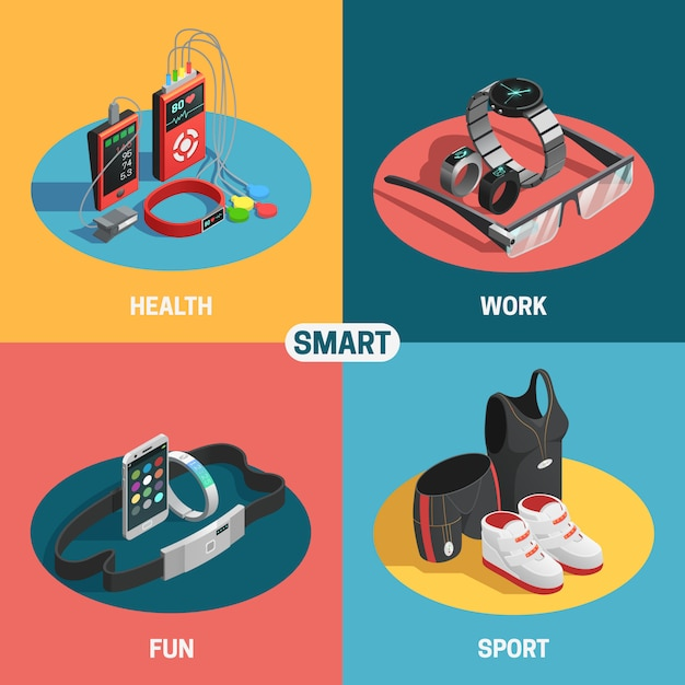 Wearable technology set Free Vector