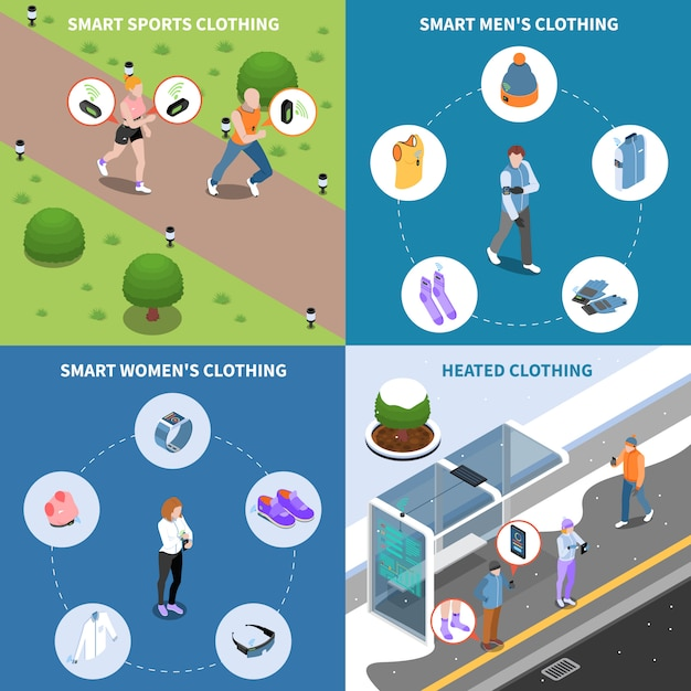 Wearable technology and smart clothes isometric card set Free Vector
