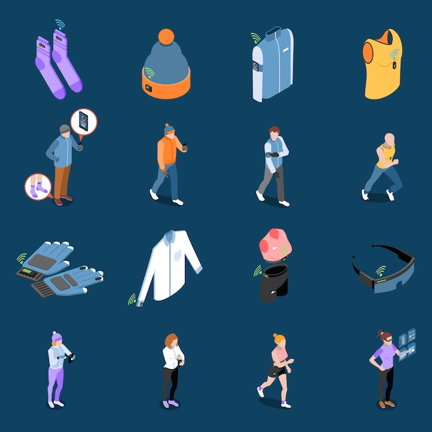 Wearable technology and smart clothes isometric set Free Vector