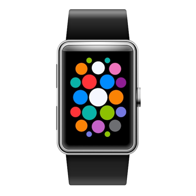 Wearables device smart watch with color apps icons Premium Vector