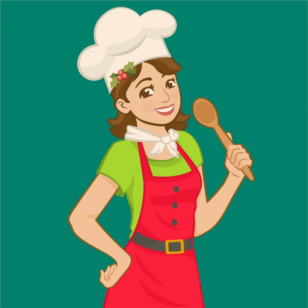 Wearing apron and chefs hat and holding a wooden spoon. Premium Vector