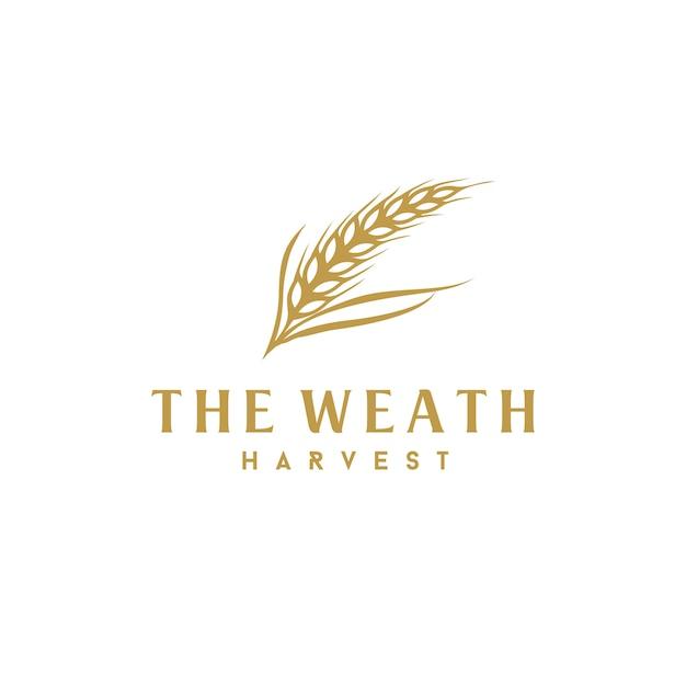 贅沢な黄金穀物のweath / riceのロゴデザイン Premiumベクター