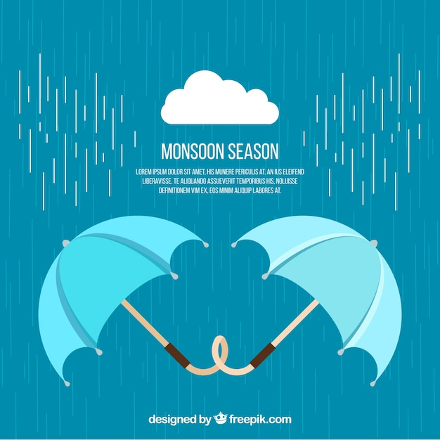 Weather background with umbrellas