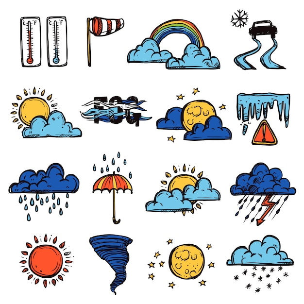 Weather color set Free Vector
