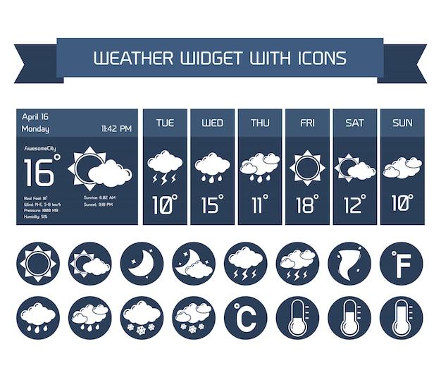 Погода подробный прогноз компьютер и мобильные бизнес-виджеты с вертикальной темной коллекцией иконок на белом, изолированных векторная иллюстрация Бесплатные векторы