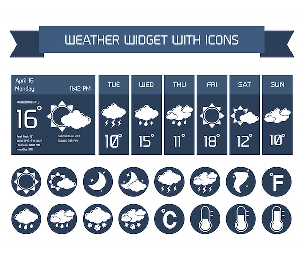 Weather detailed forecast computer and mobile business widgets with vertical dark icons collection on white isolated vector illustration Free Vector