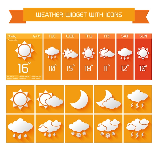 Weather extended forecast computer and mobile\ vertical widgets with icons business collection in orange isolated\ vector illustration