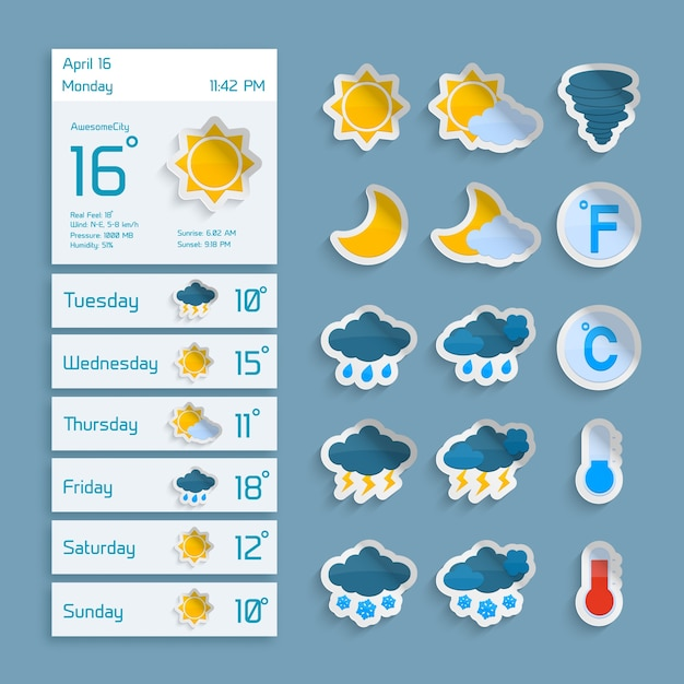 Weather extended forecast computer paper\ decorative widgets with sun clouds rain and snow icons vector\ illustration