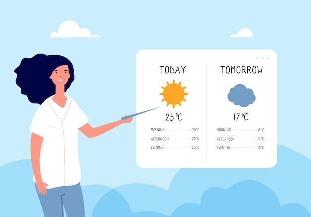 天気予報のコンセプト。テレビニュースで天気予報をしている女性。フラットなイラスト。天気、気象学、気候を予測する Premiumベクター
